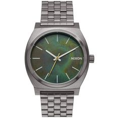 Nixon 'The Time Teller' Bracelet Watch, 37mm (318.980 COP) ❤ liked on Polyvore featuring jewelry, watches, green dial watches, nixon wrist watch, green jewelry, stainless steel watches and lock bracelet