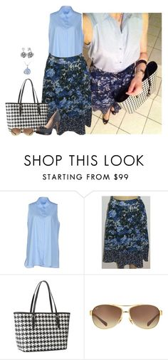 """""""Untitled #3104"""" by elia72 ❤ liked on Polyvore featuring Acne Studios, Adrianna Papell, Michael Kors, Ray-Ban and Ice"""