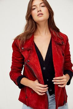 Leather Jackets For Sale, Jackets For Women, Red Jackets, Winter Jackets, Red Suede Jacket, Suede Mini Skirt, Free People Store, Moto Style, Celebrity Outfits