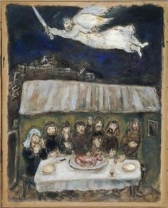 The Israelites are eating the Passover Lamb - Marc Chagall