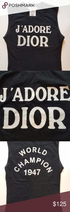 J'ADORE DIOR !RARE! TANK TOP Christian Dior World Champion 1947 sleeveless tank top. Used, good condition. Tag Size: 4 Designed to be short on the waist. Rare!!! Christian Dior Tops Tank Tops