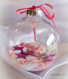 Personalized Clear Glass Christmas Ornament Gift ~ Make a pretty pink themed personalized ornament for a young girl. / timewiththea.com