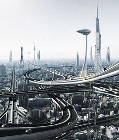 future city sci-fi illustration
