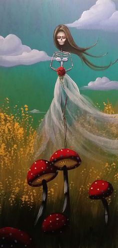 Day Of the Dead Acrylic Original Painting Bride Roses Mushrooms Dia de los Muertos Award Winning Artist Kat Tatz Acrylic on Wood Panel,