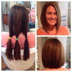 Before and After Bob Haircuts Ponytail Haircut, Diy Haircut, Lob Hairstyle, Angled Bob Haircuts, Short Bob Hairstyles, Hair And Makeup Tips, Hair Makeup, Short Hair Cuts, Short Hair Styles
