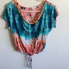 Tie dye cropped shirt Red and blue tie dye cropped shirt with tie at the bottom. Worn twice Tops