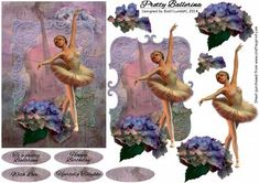 Pretty Ballerina on Craftsuprint designed by Bodil Lundahl - A beautiful ballerina in her ballet dress is posing with a stunning, oversize hydrangea by her side. The finished card would be fabulous for a lot of different occasions. - Now available for download!