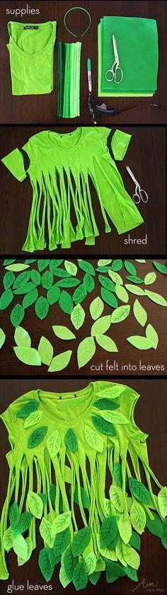 idée déguisement No-Sew Leaf Fairy Costume
