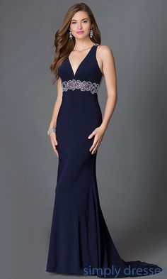 Shop open-back long prom gowns with beaded details at Simply Dresses. Floor-length sleeveless military ball gowns with beaded sheer illusion mesh.