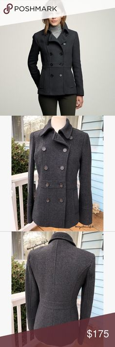 J.Crew Tall Stadium-Cloth Peacoat J.Crew Tall Stadium-Cloth Peacoat in size 10 TALL - 79% wool, 21% nylon - lining is 100% acetate - this is in excellent preloved condition, minimal to no signs of wear and no stains - retailed for $255 - measures: 26.75 inches in length x 18 inches armpit to armpit- dark grey almost black 📎Measurements are approximate & are always taken laying flat 📷 Colors may vary slightly from photos  💰Bundle for the best deal  ❌No trades, sorry J. Crew Jackets & Coats…