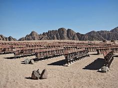 """An abandoned outdoor movie theater deep in the heart of Egypt's Sinai desert is the subject of a fascinating new series images by Estonian photographer Kaupo Kikkas, titled """"End of the World Cinema"""". - See more at: http://www.junk-culture.com/2014/03/end-of-world-cinema-abandoned-movie.html#sthash.NO2itYYl.dpuf"""