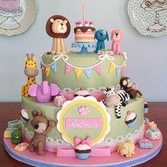Safari Baby Shower Cake, Baby Shower Cakes, Dog Cakes, Girl Cakes, Fondant Flower Cake, Fondant Bow, Fondant Tutorial, Fondant Cakes, Toddler Birthday Cakes