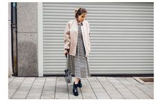 T by Alexander Wang stripe dress and blush bomber