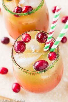 Apple Cider Sangria filled with white wine, apple cider, apple brandy, apples, oranges and cranberries. A fun and festive drink for holiday gatherings. Christmas Punch, Christmas Cocktails, Christmas Appetizers, Holiday Drinks, Fun Drinks, Yummy Drinks, Beverages, Christmas Stuff, Holiday Dinner