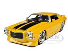$14.99     Brand new 1:24 scale diecast model car of 1971 Chevrolet Camaro Yellow With Black Stripes die cast model car by Jada.  Item Number: 90533y-mj.  Brand new box.  Rubber tires.  Made of diecast with some plastic parts.  Detailed interior, exterior.  Dimensions approximately L-7.5, W-3, H-2.5 inches.  1971 Chevrolet Camaro Yellow With Black Stripes 1/24 Diecast Model Car