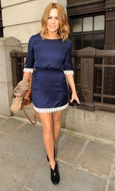 Caroline Flack thou-shalt-covet Cute Blue Dresses, Lovely Dresses, Caroline Flack Style, Celebrity Style Inspiration, Her Style, Beautiful People, Beautiful Women, Fashion Outfits, Tv Presenters
