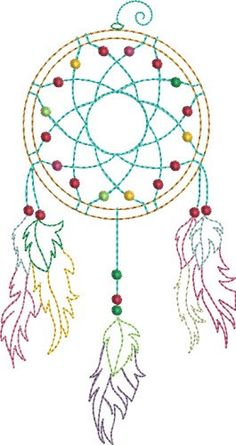 Pat Williams Embroidery Design: Colorful Dream Catcher 6.02 inches H x 3.61 inches W
