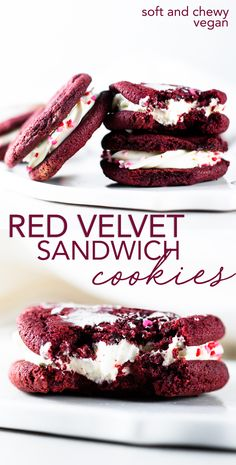 Delicious, soft and chewy VEGAN Red Velvet Cookies sandwiched with a yummy DAIRY-FREE Cream Cheese Frosting. Think Red Velvet Cake, but in a convenient cookie form! Mini Desserts, Easy No Bake Desserts, Birthday Desserts, Strawberry Desserts, Healthy Birthday, Vegan Dessert Recipes, Delicious Vegan Recipes, Desert Recipes, Cheesecake Recipes