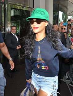Rihanna rocked out in a Kenzo cap and sweater as she left her hotel in  Central b660439440d6