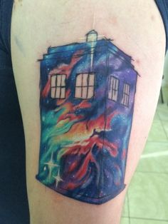 TARDIS (Doctor Who) | Source: Kevin M. Brooks, inked by Don Hankey at Studio 13 Tattoo
