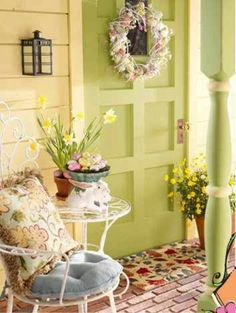 Spring green porch