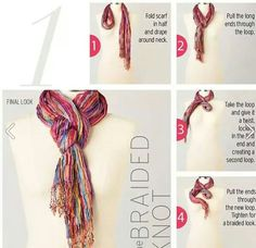 10 ways to tie a scarf knot: The Braided Knot The 10 Knots: The Double Loop / The Braided Knot / The Weave / The Sliding Knot / The Double Infinity / The Rope Twist / The Side Knot / The Bow / The Braid / The Double Twist Ways To Tie Scarves, Ways To Wear A Scarf, How To Wear Scarves, How To Fold Scarf, How To Wear A Blanket Scarf, Look Fashion, Autumn Fashion, Womens Fashion, Fashion Tips