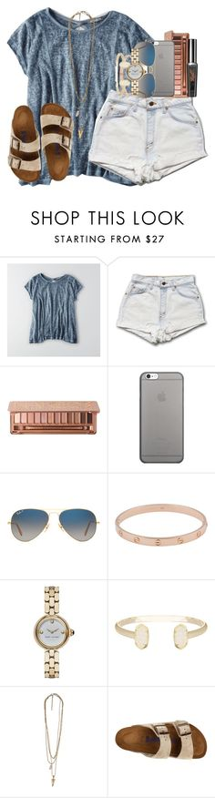 """"""""""" by smbprep ❤ liked on Polyvore featuring American Eagle Outfitters, Urban Decay, Native Union, Ray-Ban, Cartier, Marc Jacobs, Kendra Scott and Birkenstock"""