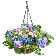 Improvements Hydrangea Pre-Lit Hanging Basket ($60) ❤ liked on Polyvore featuring home, home decor, floral decor, flowers, plants, floral, backgrounds, indoor decor, hydrangea wreath and hydrangea pre-lit wreath