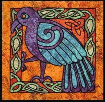 """CC-016 CELTIC RAVEN PATTERN Finished Size: 21"""" X 21 A recurring figure in Celtic lore, the raven is a sacred symbol of prophecy, fertility and war. Also known as an oracle, teacher of magic, and protector of warriors and heroes. Leadline required 14 yards purchased separately YouTube video demonstration at https://www.youtube.com/watch?v=UjnZ8EExaEs $14.50"""