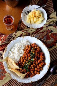 Chana Masala with fresh Coconut + Spicy Pineapple Salad - Earthy Feast