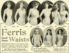 1911 Ad Ferris Good Sense Waists Figure Corsets Baby Girl Woman Bust Curve LHJ6