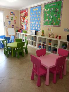 Family home daycare setup- inspired by cube organizers wall to wall and bulletin boards