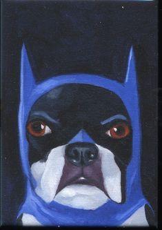 Boston+Terrier+Batman+Hat+Cute+Dog+Art+Magnet+by+rubenacker,+$4.75