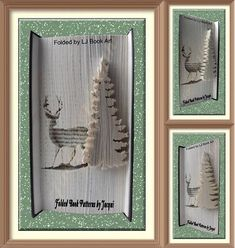Book Folding Pattern - Deer Scene by JHBookFoldPatterns on Etsy Book Folding Patterns Free, Love Picture Frames, Cut And Fold Books, Sisters Book, Custom Book, Memorial Gifts, Christmas Books, Love Pictures, Book Crafts
