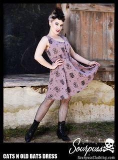 SOURPUSS CATS N OLD BATS DRESS  http://www.sourpussclothing.com/sourpuss-cats-n-old-bats-dress.html  #sourpuss #sourpussclothing #sourpussdress #macabre #cats #cameo #poe #edgarallanpoe #halloween #pinup #skeleton #photoshoot