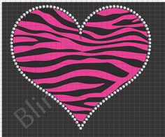 Zebra Heart Rhinestone Design Download Pattern File Stencil Template EPS SVG PLT Bling