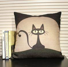 Articles ménagers animaux chat oreiller taies coussin couvre couverture oreiller en toile décoration maison Throw pillow