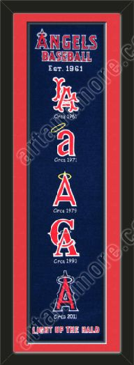 This Los Angeles Angels heritage banner framed to 8 x 32 inches.  $89.99 @ ArtandMore.com