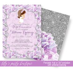 First Holy Communion Girl Invitation, Baptism Girl Invitation, Christening Invitation, Communion Invitation, Lavender Floral- YOU PRINT by LillysPartyBoutique on Etsy https://www.etsy.com/listing/500746982/first-holy-communion-girl-invitation