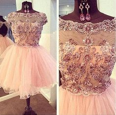 Pink Beading Backless Party Dress Homecoming Dresses For Women Cute Dress