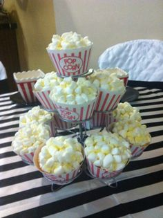 popcorn cupcakes centerpiece