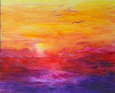 coucher de soleil sur la mer / sunset on the sea  © isabelle garnier  acrylic on paper