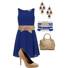 Royal Blue with tan accessories