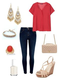 """""""Untitled #277"""" by kmysoccer on Polyvore featuring River Island, MANGO, Stella & Dot, NAKAMOL, Palm Beach Jewelry, Seychelles and Essie"""