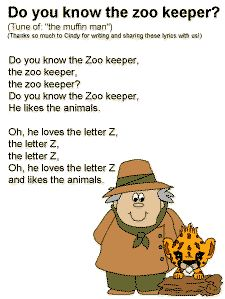 The Zoo Keeper Song Lyrics - ABC Number Colors Shapeslettter hadban hand M - Preschool Zoo Theme, Preschool Music, Preschool Lessons, Preschool Crafts, The Zoo, Songs For Toddlers, Kids Songs, Zoo Animal Activities, Zoo Animal Crafts