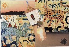 TIGER AND SNOW LION paper collage art for framing or notecard by MaterialWhirlCollage, $4.99