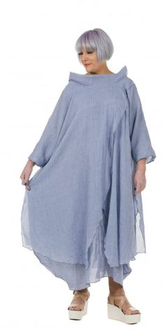 Yiannis Karitsiotis Striking Chambray Blue Crossover Dress