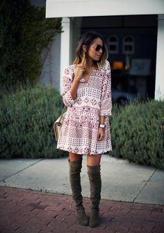 Use your over-the-knee boots to elevate a summer dress or pair them with a skirt. #Fall #Fashion