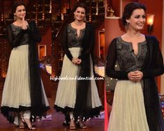 Next stop in the promo-tour was a television show and for the filming, Dia picked a Tarun Tahiliani suit. Wearing her hair up, she finished out the look with Amrapali earrings and black sandals. Love it; she looked great!