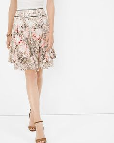 White House | Black Market Floral Print Tiered Skirt